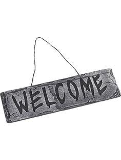 Halloween Tervetuloa kyltti. Harmaa karmiva kyltti toivottaa vieraasi tervetulleeksi.
