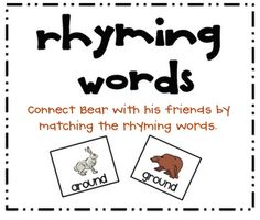 FREE 20 pairs of rhyming word cards for a match-up game in color ...