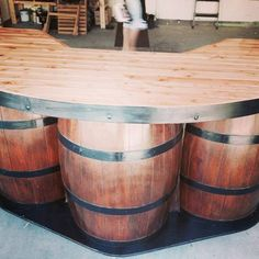 copper trim, butcher block top and bourbon barrel base. piping for foot rest Wine Barrel Crafts, Wine Barrel Table, Wine Barrel Furniture, Wine Barrels, Outdoor Kitchen Bars, Outdoor Bars, Barrel Projects, Backyard Bar, My Pool