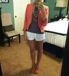 Shoes are Anne Klein, Shorts - Banana Republic, Cami is Vivienne Tam, Blazer is from Macy's.