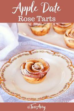 Apple Date Rose Tarts - Beautiful tarts with an exotic filling of date, rosewater and cardamom. Surprisingly easy to make and a fun dessert for Valentine's Day!  | ToriAvey.com #vegan #dessert #roses #bakingproject #passover #dates #rosewater #pretty #poweredsugar #TorisKitchen