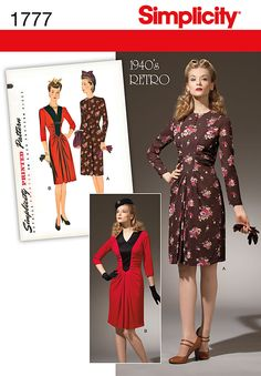 WWII 1940's vintage style sewing pattern by Simplicity. $6.99 from Rags 'n Robots.