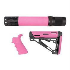 AR15 Kit: Finger Groove Beavertail Grip, Rifle-Length Forend with Accessories and OverMolded Collapsible Buttstock - AR15 - Color: Pink - Fits Commercial and Mil-Spec Buffer Tube - Finger Groove Beavertail Grip - Rifle-Length Forend with Accessories - OverMolded Collapsible Buttstock