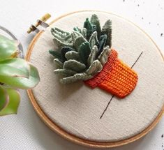 Fiber Wall Art Embroidered Succulent in Planter Cactus Embroidery, Creative Embroidery, Silk Ribbon Embroidery, Modern Embroidery, Diy Embroidery, Cross Stitch Embroidery, Embroidery Patterns, Embroidery Supplies, Diy Broderie
