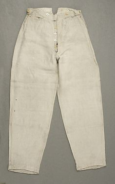 Trousers    Date:      1850s  Culture:      American  Medium:      cotton, linen