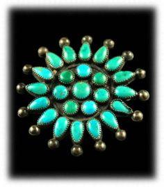 Vintage Zuni Petite  Point Turquoise Pin
