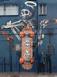 Street art for Dog Town Skates in Venice Beach, California, USA by Huit