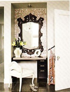 nook in walk in closet? put wall paper up in the nook and a mirror…add a small drawer/unit for storage