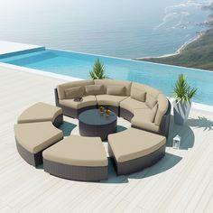 Uduka Modavi 9 pcs Outdoor Sectional Round Patio Sofa Set