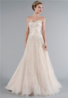 Mark Zunino Blush,  beaded and embroidered, tulle A-line with sweetheart neckline and dropped waist.