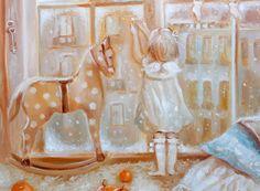 Купить Твой волшебный Париж - картина на холсте, теплые оттенки, теплая картина, теплый подарок