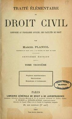 Marcel Planiol, Droit Civil.