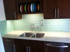vapor glass subway tile | modern kitchen island, wooden kitchen