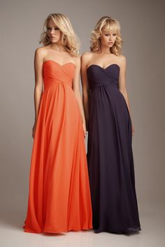 Bridesmaid Dresses.  Orange and purple... like the orange! with yellow and pink flowers... very summery!