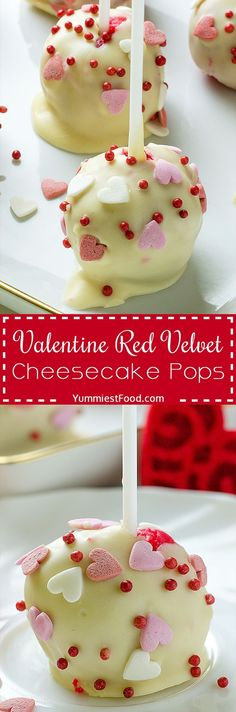 Valentine Red Velvet Cheesecake Pops - The most delicious Red Velvet Cheesecake Pops recipe ever! So nice and tasty! Perfect dessert for Valentine's Day!