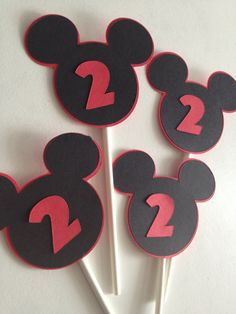 Set Of 12 Mickey Mouse Ears Cupcake Toppers Minnie by MiaSophias, $10.00