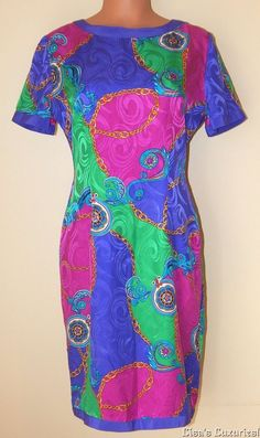 Adrianna Papell Women's Dress 8 Silk Jewel-tone Paisley Back Slit *Dry Clean #AdriannaPapell #Shift #CareerClubCocktail