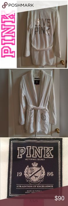 🎉Host Pick🎉Victoria's Secret Pink Sequin Robe 🎉Host Pick 7/13/2017🎉Victoria's Secret Love Pink White Bath Robe With Silver Trim & With Belt, XS/Small, Back Has Silver Sequins LOVE PINK, Last Three Pictures Are Just Close Ups Of Detail, No Sequins Are Missing, 100% Cotton, This Is Like New Worn Once, Smoke & Pet Free Home PINK Victoria's Secret Intimates & Sleepwear