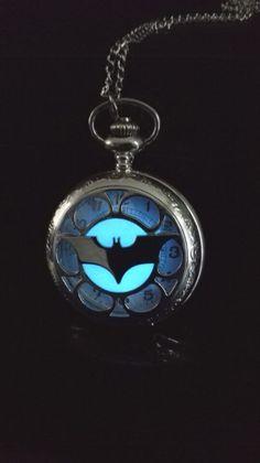 Glowing stainless steel Betman pocket watch by NightfairyGarden