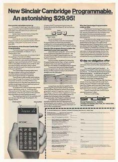 '77 Sinclair Cambridge Programmable Calculator (1977), 29.95