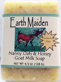 Earth Maiden Nanny Oats is chocked full of oats and honey in a soothing goat milk soap. Fragrance free for sensitive skin.