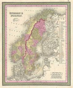 1849 Mitchell Map of Scandinavia (Sweden, Norway)