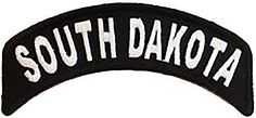 "Amazon.com: [Single Count] Custom and Unique (4"" 10cm x 1"" 2.5cm) ""Biker"" South Dakota American State Map Bold Emblem Design Iron & Stick On Adhesive Embroidered Applique Patch {Black & White}"