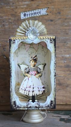 Beautiful Dreamer, by Debrina Pratt Handmade Headbands, Handmade Crafts, Handmade Rugs, Vintage Paper Dolls, Vintage Crafts, Altered Tins, Paper Art, Paper Crafts, Angels
