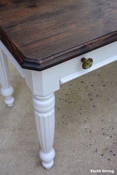 Diy Tisch Mit Kreidefarbe Streichen Tischplatte Mit Der White