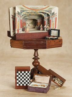 Early French Toy Games and Theatre with Pedestal Table, circa 1875
