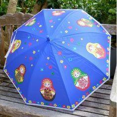 Babushka umbrella small in blue  #babushka #russiandoll #matryoshka #dollsindolls #decor #traditional #kids #toys #handmade