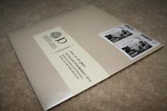 wrap around envelope labels with monogram,  return address on back