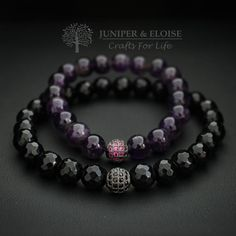 Couples Bracelets Lovers Bracelet 8 mm Onyx and Amethyst Bracelets her and her Couples jewelry his own Bracelet Couple, Couple Jewelry, Gemstone Bracelets, Bracelets For Men, Jewelry Bracelets, Pearl Necklaces, Style Masculin, Black Gold Jewelry, Bracelet Sizes