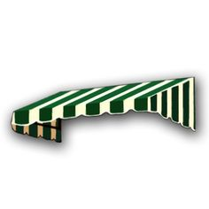 AWNTECH 35 ft. San Francisco Window/Entry Awning (24 in. H x 36 in. D) in Forest/White Stripe, Green