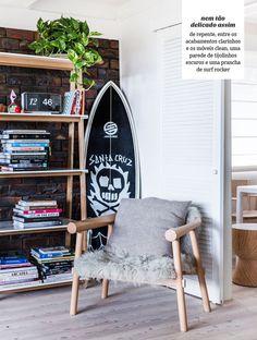 brick and black surf board #decor