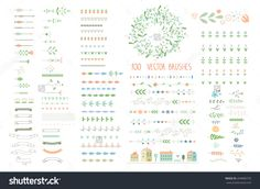 Floral decor set. 100 different vector brushes and decor elements. Isolated.