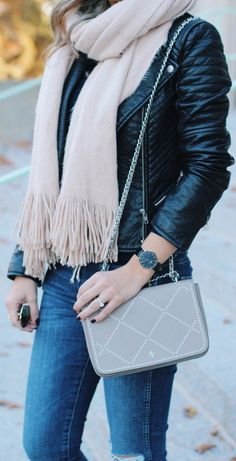 #fall #outfits ·  Moto Jacket // Fringe Scarf // Shoulder Bag // Skinny Jeans