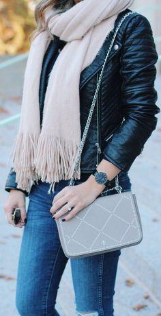 #fall #outfits · Moto Jacket // Fringe Scarf // Shoulder Bag // Skinny Jeans