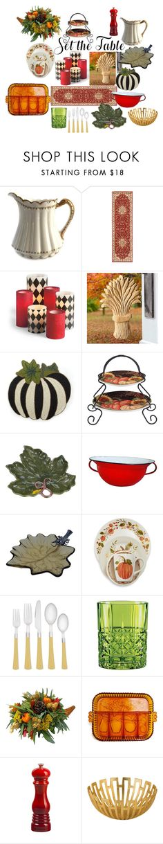 """""""Harvest Table"""" by pampire ❤ liked on Polyvore featuring interior, interiors, interior design, home, home decor, interior decorating, Haviland, Kathy Ireland, Grandin Road and Improvements"""
