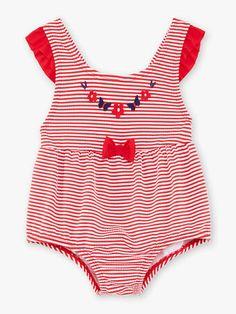 Maillot de bain 1 pièce en seersucker à rayures bébé fille Beach Kids, Seersucker, One Piece, Collection, Swimwear, Fashion, Boardshorts, Stripes, Bathing Suits