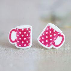 Spotty Printed Mug Earrings