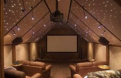 I LOVE the starry ceiling in the theater room!
