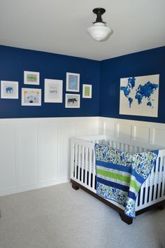 Wainscot: This wall has white wood paneling separating the colors white and blue. The wainscot style is different from other treatments because it is half paneling, have paint. It gives the room a brighter, active feeling.