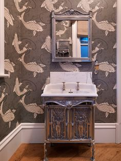 Victorian powder room using Osborne & Little's Derwent wallpaper by Jamie Hempsall Interiors. I love that vanity!!