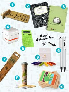 LOVE these eco-friendly school supplies! Top 20 Eco-Friendly School Supplies - Checklists - Honestly... The Honest Company Blog