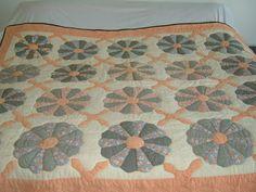 Antique Dresden Plate Design Peach Quilt | eBay