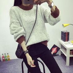 The new autumn and winter women loose sweater thick sweater brown blue for students