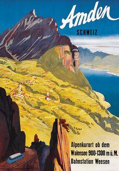 Vintage Travel Poster by Louis Koller: Amden, Switzerland Retro Poster, Vintage Travel Posters, New Poster, Fürstentum Liechtenstein, Vintage Banner, Tourism Poster, Ski Posters, Postcard Art, Travel Cards