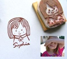CraftPudding makes these glorious hand-carved stamps of your kids. The shop has been deluged with orders and is taking orders for the Holidays starting the first week of December. Get in line. (2-3 weeks lead time)
