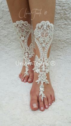 free ship bridal anklet ivory lace sandals wedding by UnionTouch Barefoot Sandals Wedding, Wedding Shoes, Lace Wedding, Beach Wedding Photos, Beach Shoes, Bare Foot Sandals, Anklets, Bridesmaid Gifts, Ivory